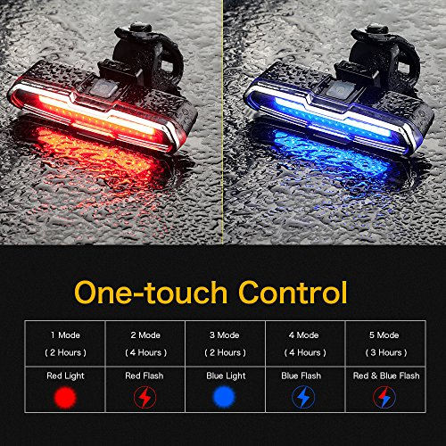 TANSOEN USB Rechargeable Bicycle Light Front and Back Set, 2000 Lumens LED Lamp Bike Headlight and COB Tail Light -【Upgrade Front Bike Light Base】 Waterproof 5 Light Modes for Road Cycling by TANSOREN (Image #5)