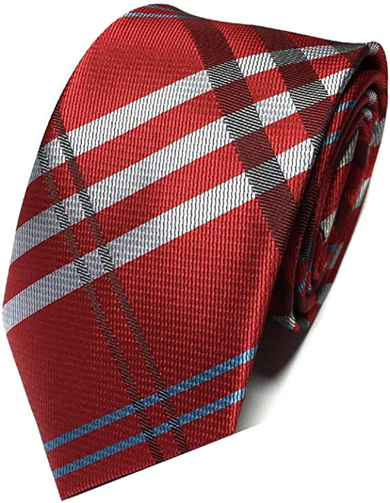 Men's Tie Red /& Black Stripe Necktie Narrow Slim Silk Blend Skinny Brand New