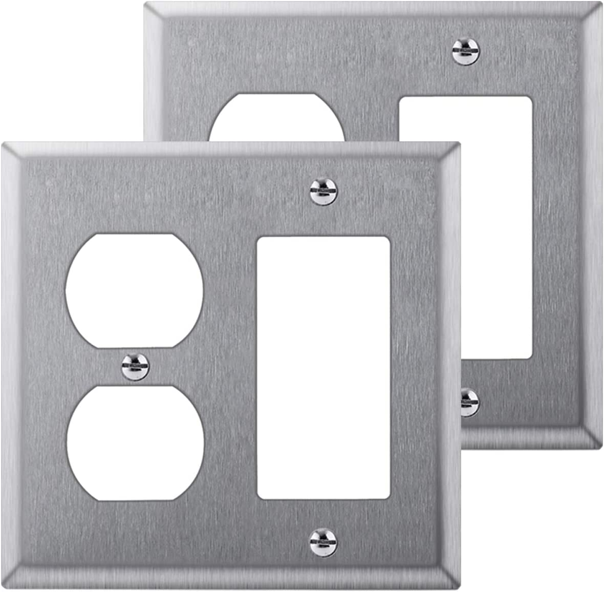 [2 Pack] BESTTEN 2-Gang Combination Metal Wall Plate, 1-Duplex/1-Decor, Anti-Corrosion Stainless Steel Outlet and Switch Cover, Industrial Grade Stainless Steel, Standard Size, Silver