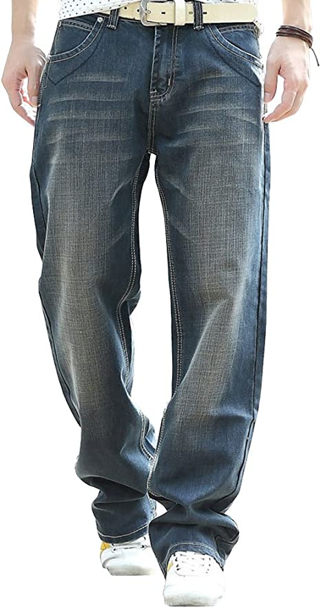 YOYEAH Mens Fashion Big Loose Relaxed Straight-Leg Jeans