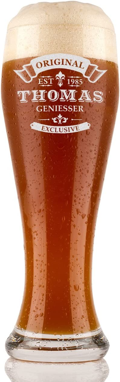 Vaso para cerveza de trigo, 0,5l, personalizable, de cristal