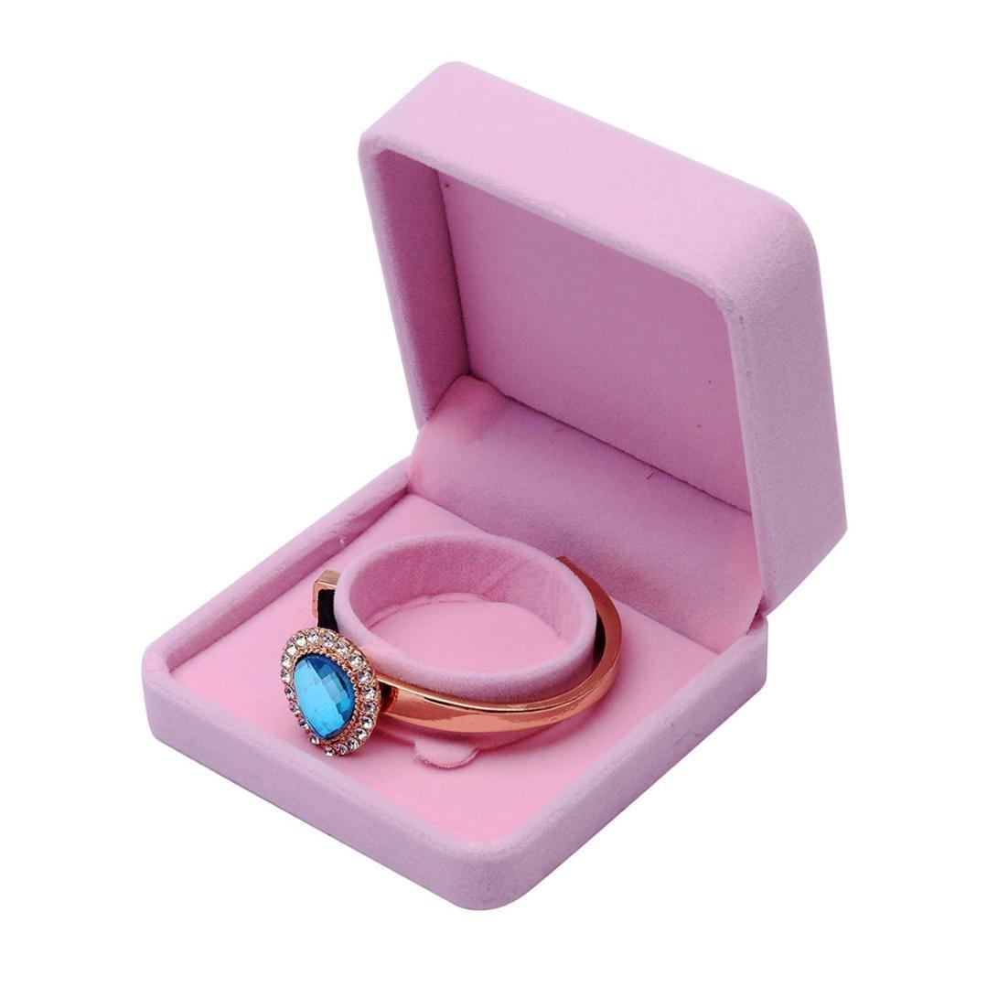 Velvet Gift Box Jewellery Ring Necklace Bracelet Storage Case Muranba (Pink, C)