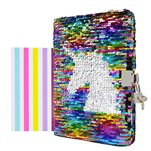 """(VIPbuy Magic Reversible Sequin Notebook Diary Lined Travel Journal with Lock and Key for Kids Girls, Size A5 (8.5"""" x 5.5""""), 78 Sheets (Colorful Unicorn))"""