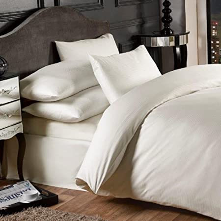 Grovesnor satén Rayas algodón 1000 Hilos sábana Bajera, Polyester-Cotton, King Size, Extra Profundo, Color Crema: Amazon.es: Hogar