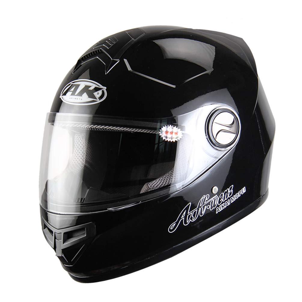 Protectwear Casco de moto mate negro con visera solar integrada H520-ES Tama/ño S