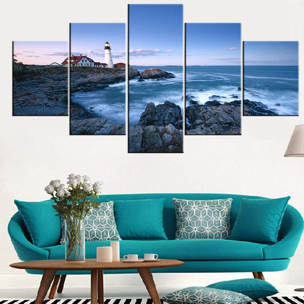 Seascape Artwork for Home Walls Portland Head Lighthouse Paintings Maine Coastline Picture for Living Room 5 Piece Prints on Canvas Modern Wall Art Framed Gallery-Wrapped Ready to Hang(60''Wx32''H)