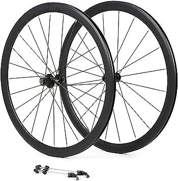 LIDAUTO Rueda de Bicicleta de Carretera 700C Llantas de Aleación de Aluminio 40MM Buje de Fibra de Carbono de 4 rodamientos Logo Reflectante 8-9-10-11 Rueda Libre de Velocidad: Amazon.es: Deportes y aire