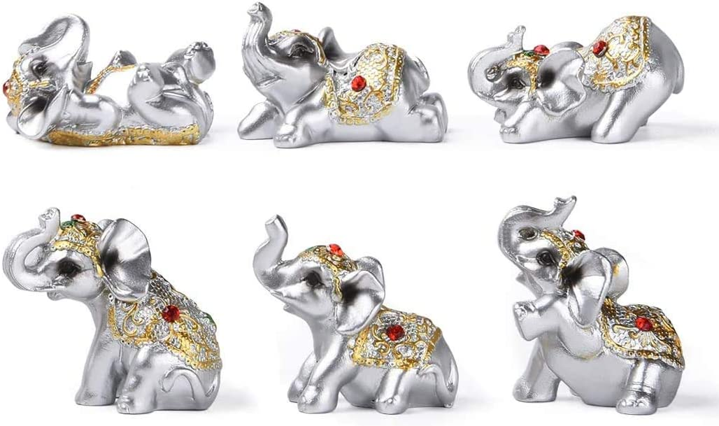 Morny Silver Resin Small Elephants Statues Home Decor Collection Gift Set of 6 (Sliver)