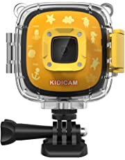 Dragon Touch Kidicam 1080P Kids Action Camera 30m Waterproof Camera (Yellow)