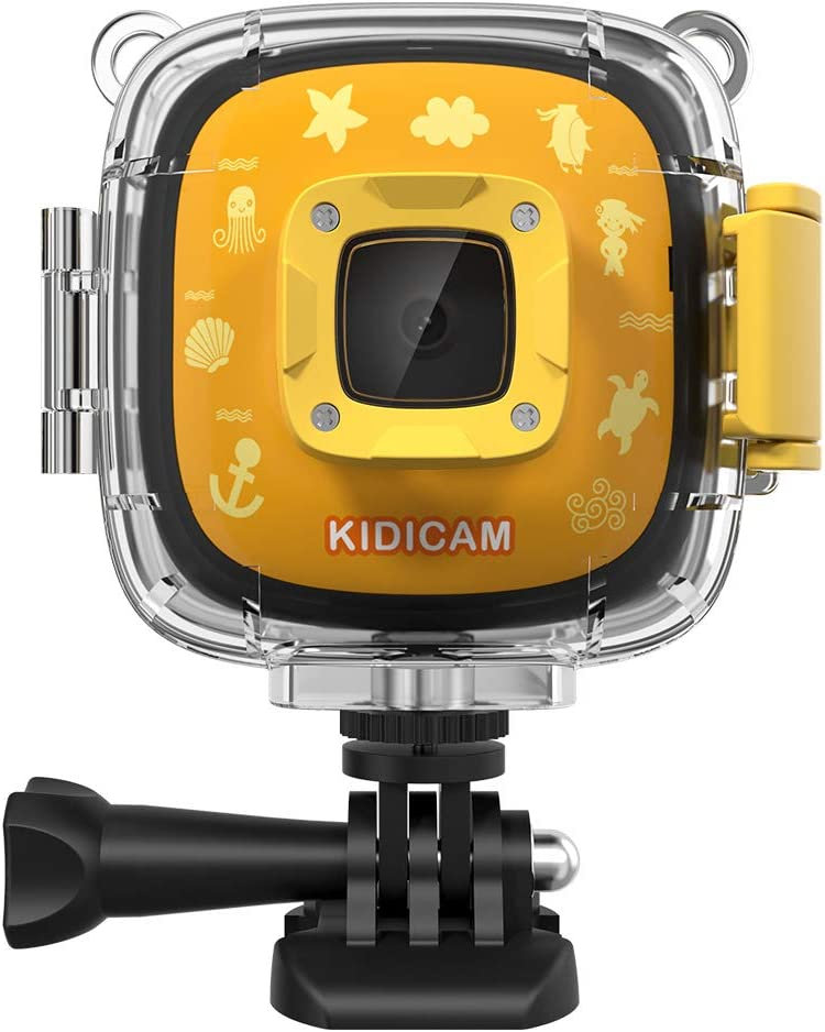 Dragon Touch Kids Camera Kidicam 1080P Action Camera 100 feet Waterproof Camera Yellow