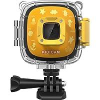 Dragon Touch Caméra Sport Enfant 1080P Full HD 30m Etanche sous-Marine avec Batterie Rechargeable, 3 Jeux, Kits d'Accessoires, Jouet Extérieur, Cadeau de Noël - Jaune