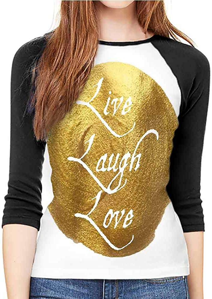 Casual Women's mid-Sleeve T-Shirt Live Laugh Love Decor White Gold 61MlZl2aYaL