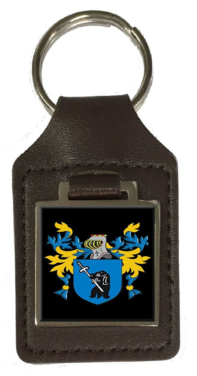 Loxly Family Crest Surname Coat Of Arms Brown Leather Keyring Engraved