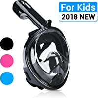 Snorkel Mask, 180° Panoramic Full Face Design with Larger Viewing Area - Easier Breathing, for Both Kids and Adult