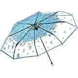 Honeystore Clear Bubble Transparent 3 Folding Cherry Blossom Rain Wind Umbrella