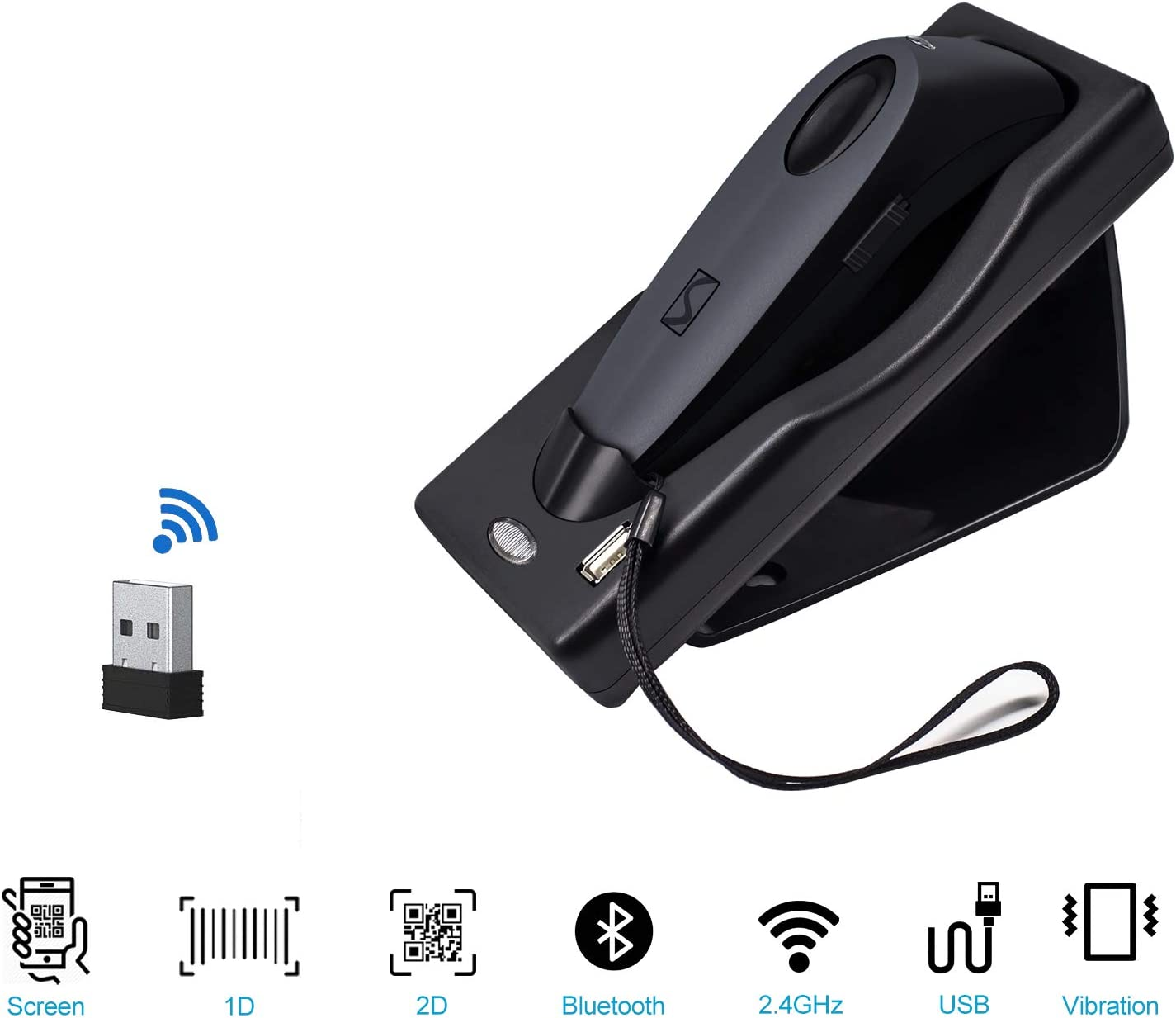 Barcode Scanner Dual 2.4G Wireless + Bluetooth 1D 2D Barcode Scanner QR PDF417 Data Matrix UPC Rechargeable Bar Code Scanner for Laptops/PC/Android/Apple iOS