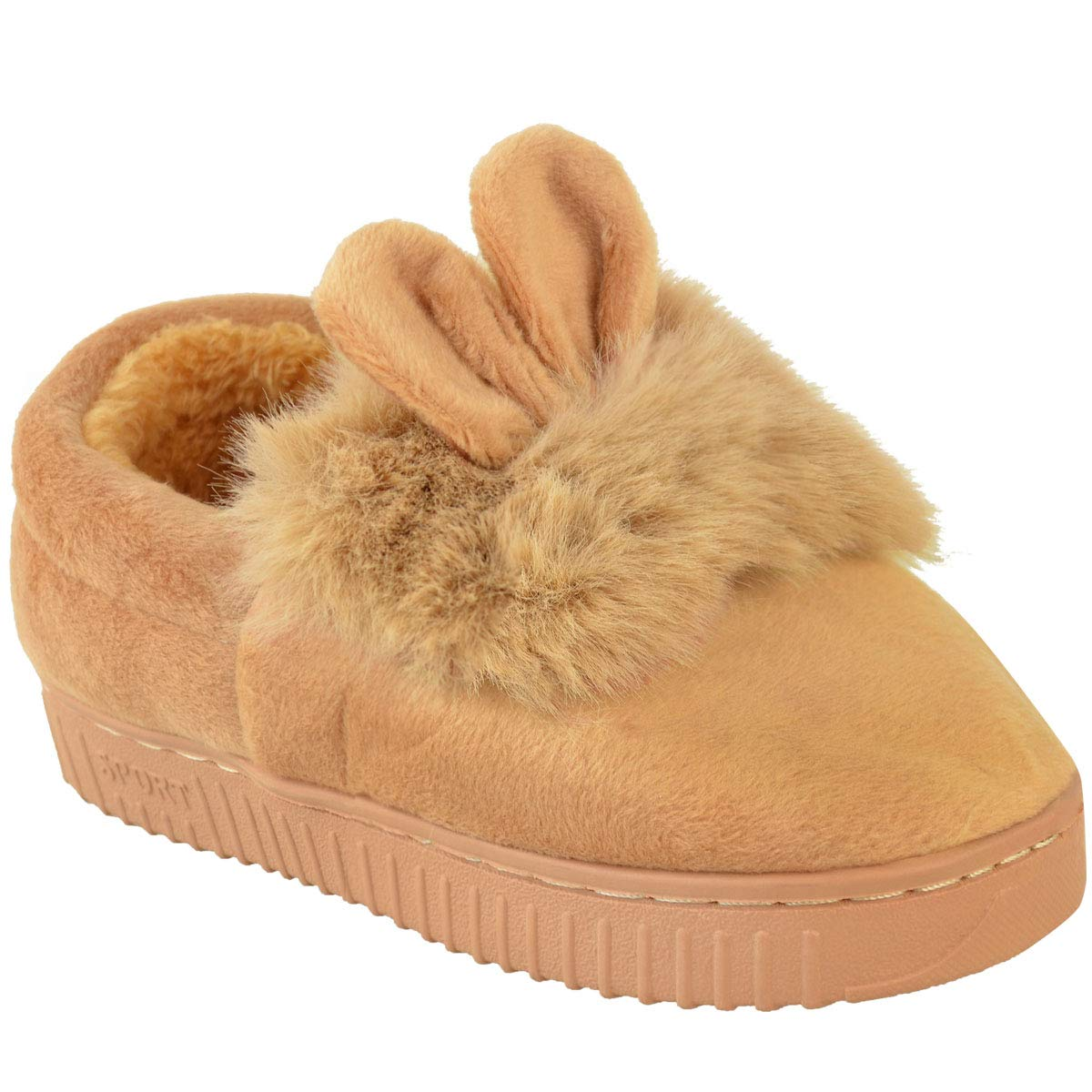 Fashion Thirsty Girls Kids Childrens Fluffy Faux Fur Indoor Slippers Winter Warm Cute Comfy New by Heelberry/®