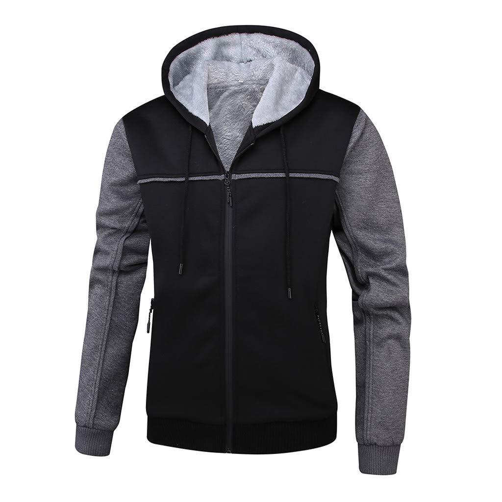 KPILP Herren Übergröße Hoodie Winter Warm Fleece Zipper Sweater Outwear Mantel Plus Samt Baseball-Uniform Sportjacke