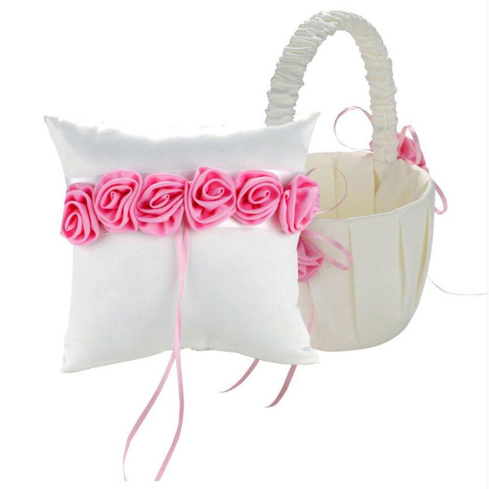 Amazon.com: 2 pcs/lot Romantic Wedding Ring Pillow+Girl Flower ...