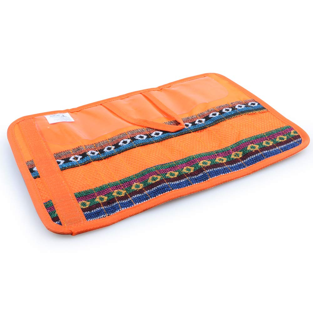 Cutlery Set Bag, 12 Slots Cutlery Storage Bag Portable Organiser Roll for Family Camping Picnic Travel Cotton Orange, by LC Prime CH125
