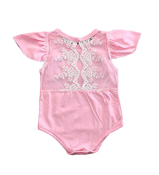 756329f90bf0 Amazon.com  yannzi Infant Baby Girls Ruffle Sleeve Cotton Lace ...
