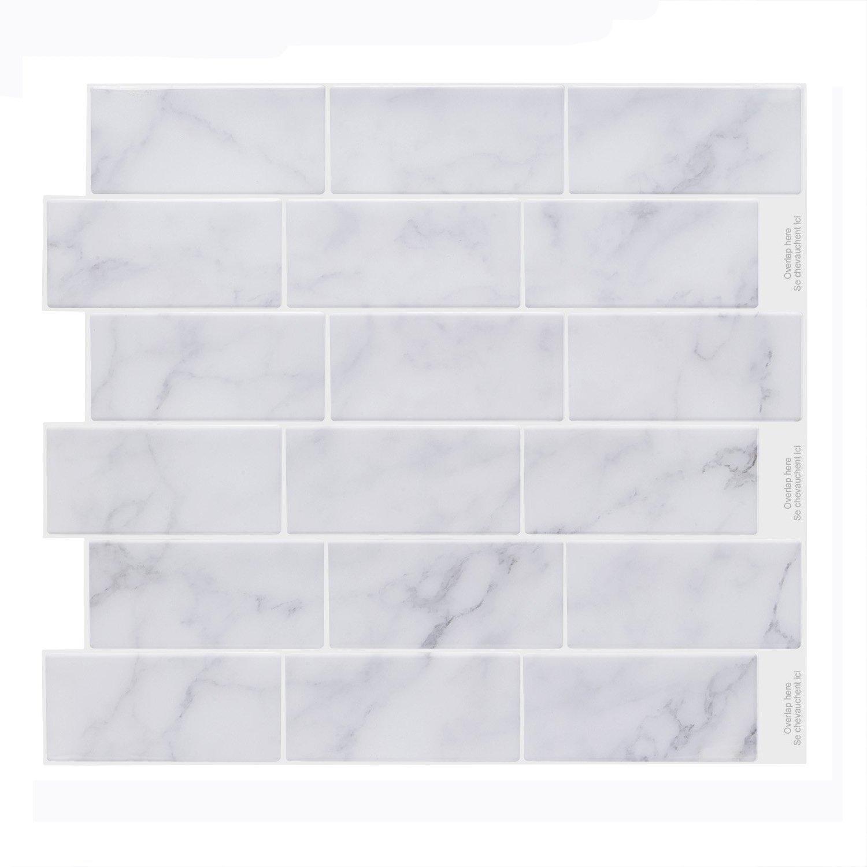 Vamos Tile Premium Anti Mold Peel and Stick Tile Backsplash,Self Adhesive Wall Tiles for Kitchen & Bathroom-11.2'' x 10'' (6 Sheets)