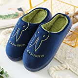 Aemember Bag Of Cotton Slippers With Couples Home Soft Thick Bottom Bottom Skid In Winter Indoor Home Furnishing Shoes,44-45 (Fit For 43-44 Feet),Navy Blue (Ban Bao)
