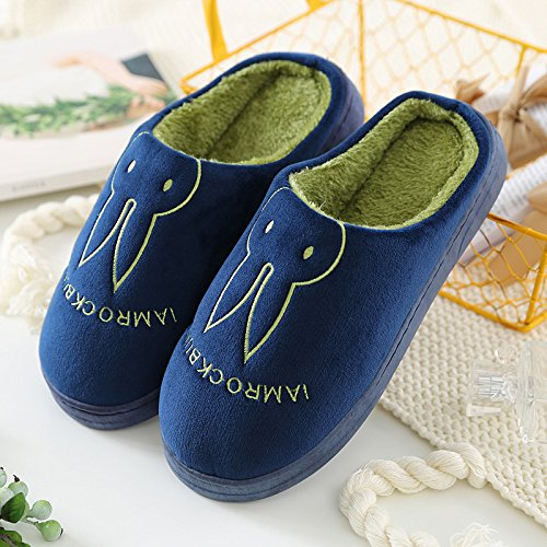 Aemember Bag Of Cotton Slippers With Couples Home Soft Thick Bottom Bottom Skid In Winter Indoor Home Furnishing Shoes,42-43 (Fit For 41-42 Feet),Navy Blue (Ban Bao)
