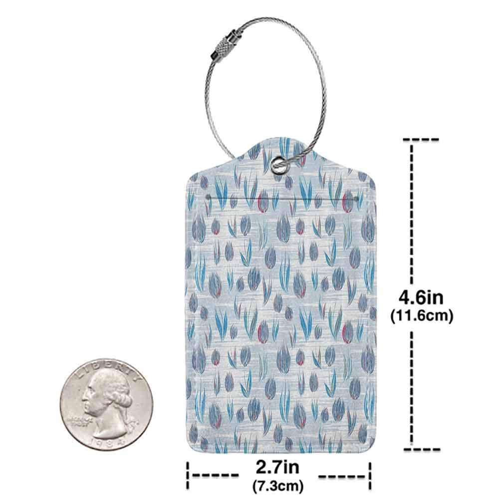 Modern luggage tag Flower Decorations Authentic Different Size Tiled Tulips Illustration With Explicit Motley Lines Home Decor Suitable for children and adults Blue W2.7 x L4.6
