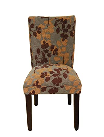 Classic Parsons Chair Upholstery: Brown / Tan Leaf