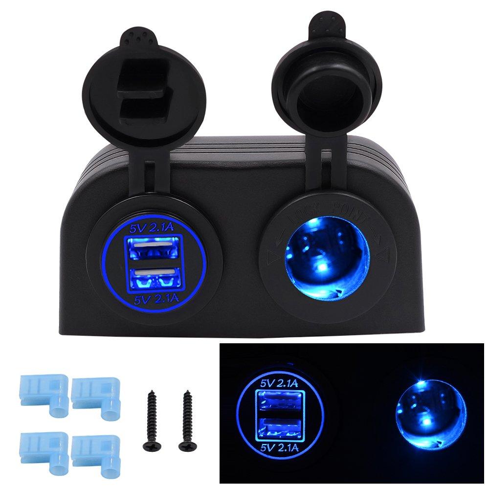 Zigarettenanz/ünder Led Voltmeter BlueFire Schalter Panel,2 USB Ladeger/ät Adapter On-Off-Button 12V//24V Wasserdich Aluminium f/ür Auto Boot Marine RV LKW Motorrad