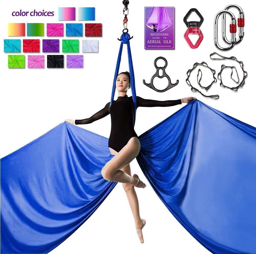 Aerial Silks Deluxe Equipment Set for Aerial Yoga, Aerial Yoga Hammock, Aerial Acrobatic,Circus Arts, Aerial Dance(L:10m W:2.8m (Royal Blue)