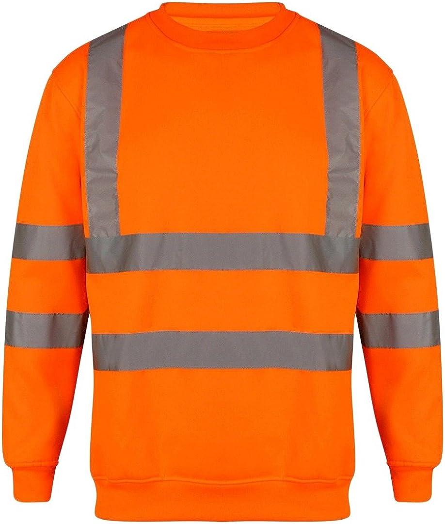 Da Uomo Hi Viz scollo tondo sicurezza Felpa visibilità Workwear Lavoro Maglione Sweat