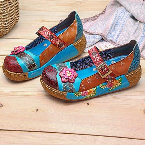 Sandali Con Zeppa Socofy, Sandali Con Plateau In Pelle Vintage Con Fiori Colorati E Sandali Blu Scuro # 3