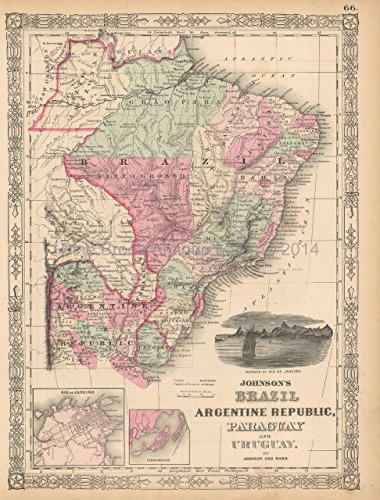 Brazil Argentina Antique Map Johnson 1863 Original Brazilian Home Decor History Ancestry Gift Ideas