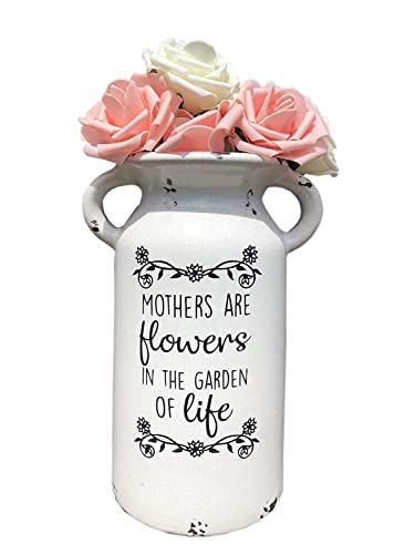 FARM HOUSE MILK JUG-MOTHERS DAY GIFT-CERAMIC MILK CAN-CUSTOMIZED FLOWER VASE