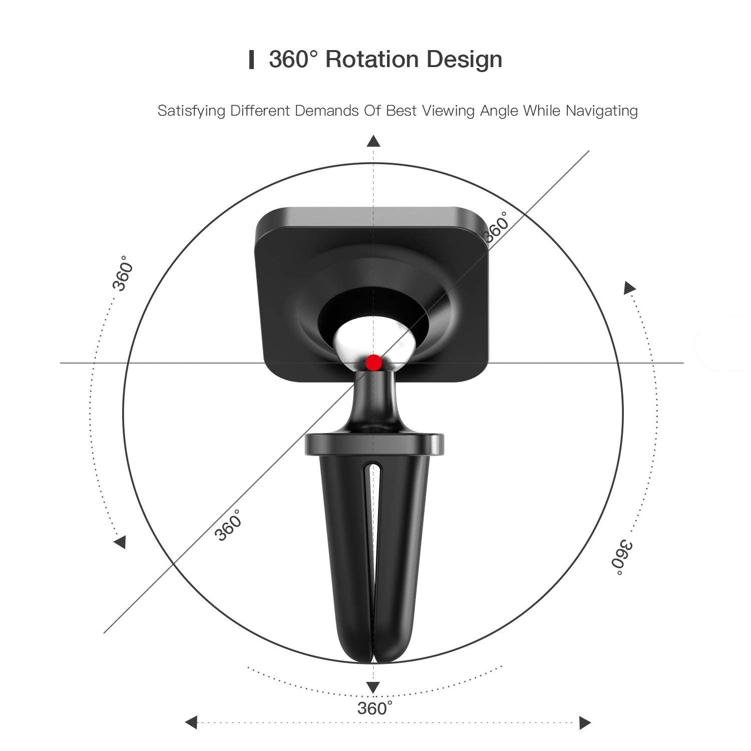 KONKY Air Vent Car Mount 360 Degree Rotation Universal Cradle Stand for iPhone X//8//8 Plus Magnetic Car Phone Holder Galaxy S8//S7 and Other Smartphone Black 1801CME-CAR-AIRZJ-BK