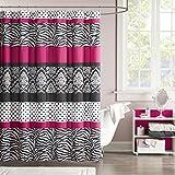 Mi Zone Reagan Print Stripes Kids Shower Curtain, Zebra Shower Curtains For  Bathroom,