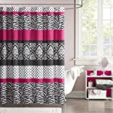 Hot Pink and Black Shower Curtain Mi-Zone Reagan Print Stripes Kids Shower Curtain, Zebra Shower Curtains for Bathroom, 72 X 72, Pink Black White
