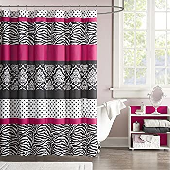Mi Zone Reagan Print Stripes Kids Shower Curtain Zebra Curtains For Bathroom