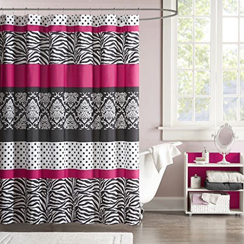 Mi-Zone Mizone MZ70-350 Reagan Microfiber Shower Curtain 72x72 Pink, (Mizone Shower Curtain)
