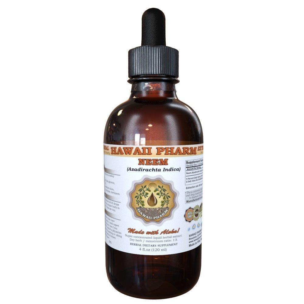 Neem Liquid Extract, Organic Neem (Azadirachta indica) Tincture Herbal Supplement, Hawaii Pharm, Made in USA, 4 fl.oz