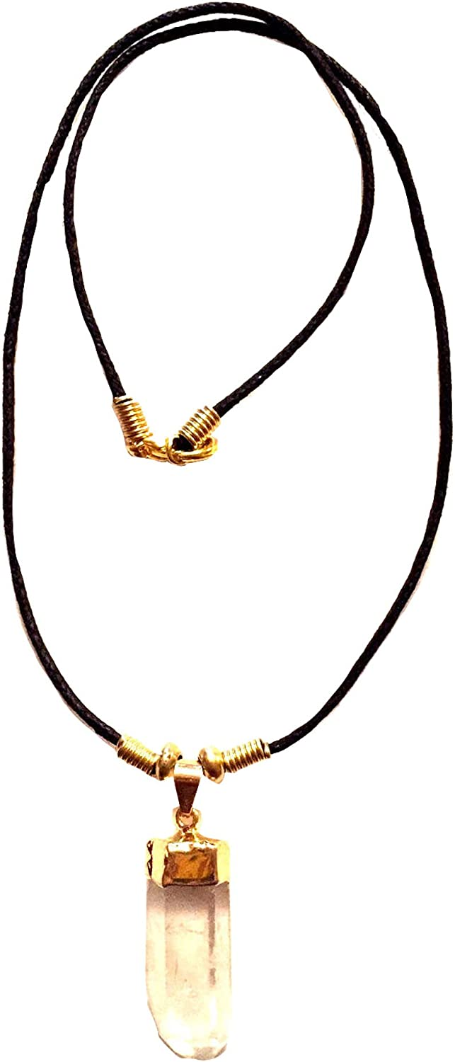 Gold Dipped Top with Black Cord Unisex Genuine Rough Cut Clear Quartz Crystal Necklace