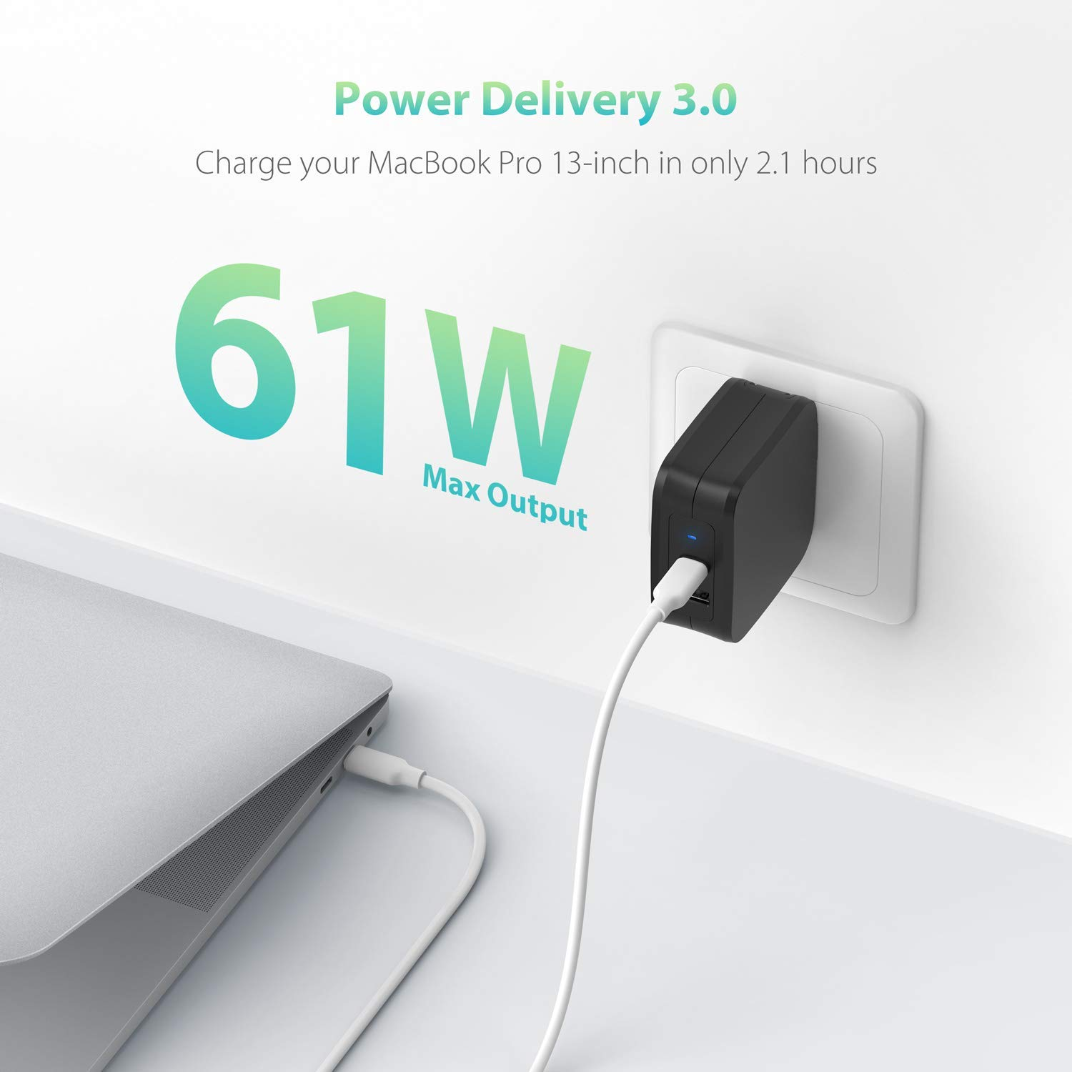 USB Wall Charger, RAVPower 61W Type C PD 3.0 Power Adapter, Dual Port USB C Wall Charger, Compatible with iPhone 11/11 Pro / 11 Pro Max, MacBook Pro ...