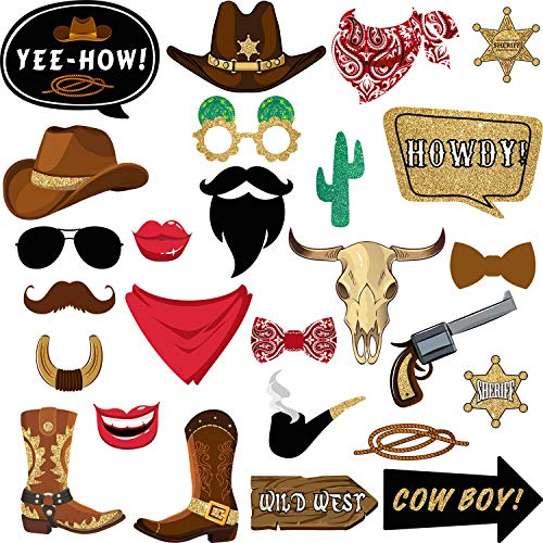 26 Pieces West Cowboy Photo Booth Props Kit, Western Party Decorations Selfie Props for Western Cowboy Theme Party Favors Supplies (Photo Christmas Cowboy Cards)