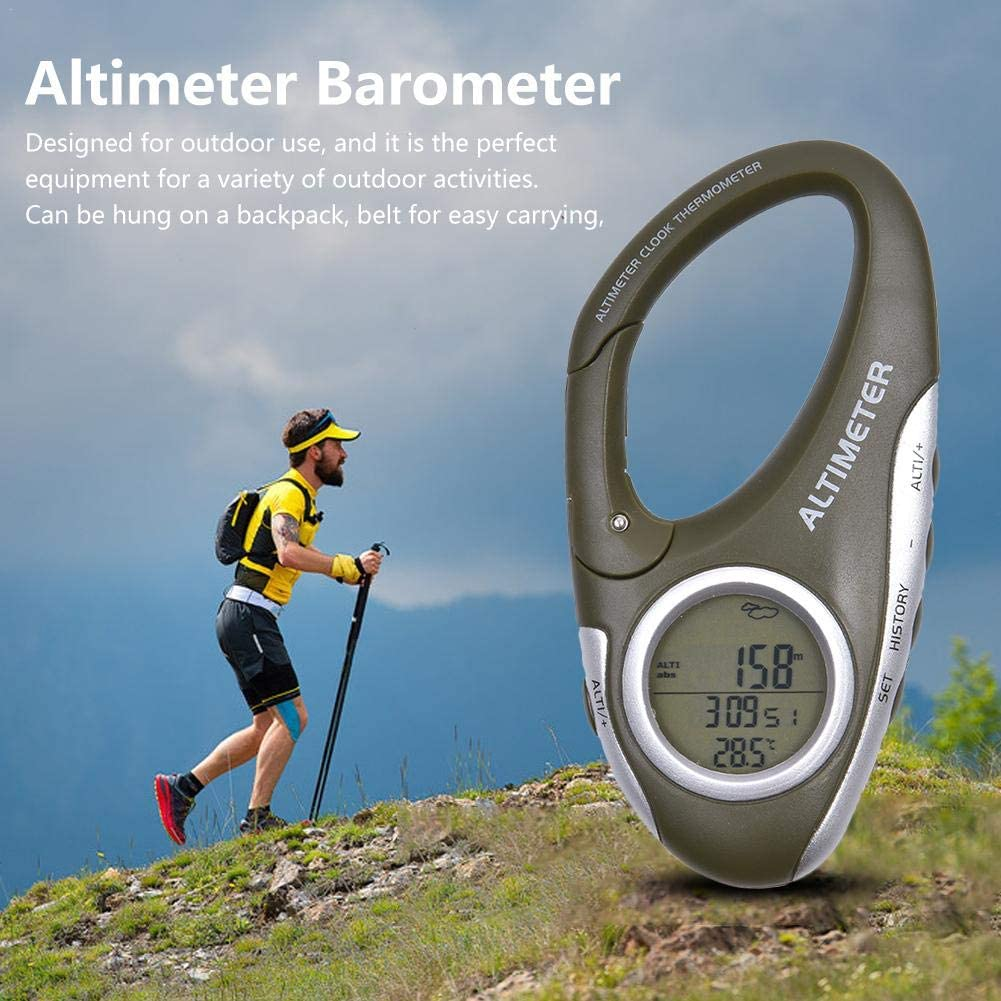 Funarrow Multi-Function Digital Altimeter Barometer Thermometer Backlight Clock Calendar Hanging Backpack Belt Easy to Carry for Outdoor Hiking Camping