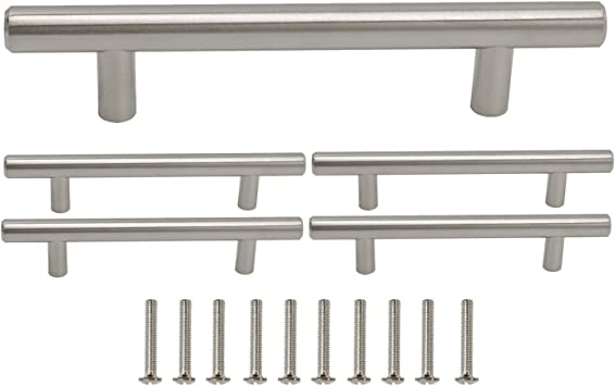 10 PACK Gobrico Stainless Steel Bar Pull Handle For Drawer Kitchen Cabinet Hardware 192mm Hole Center T Pull