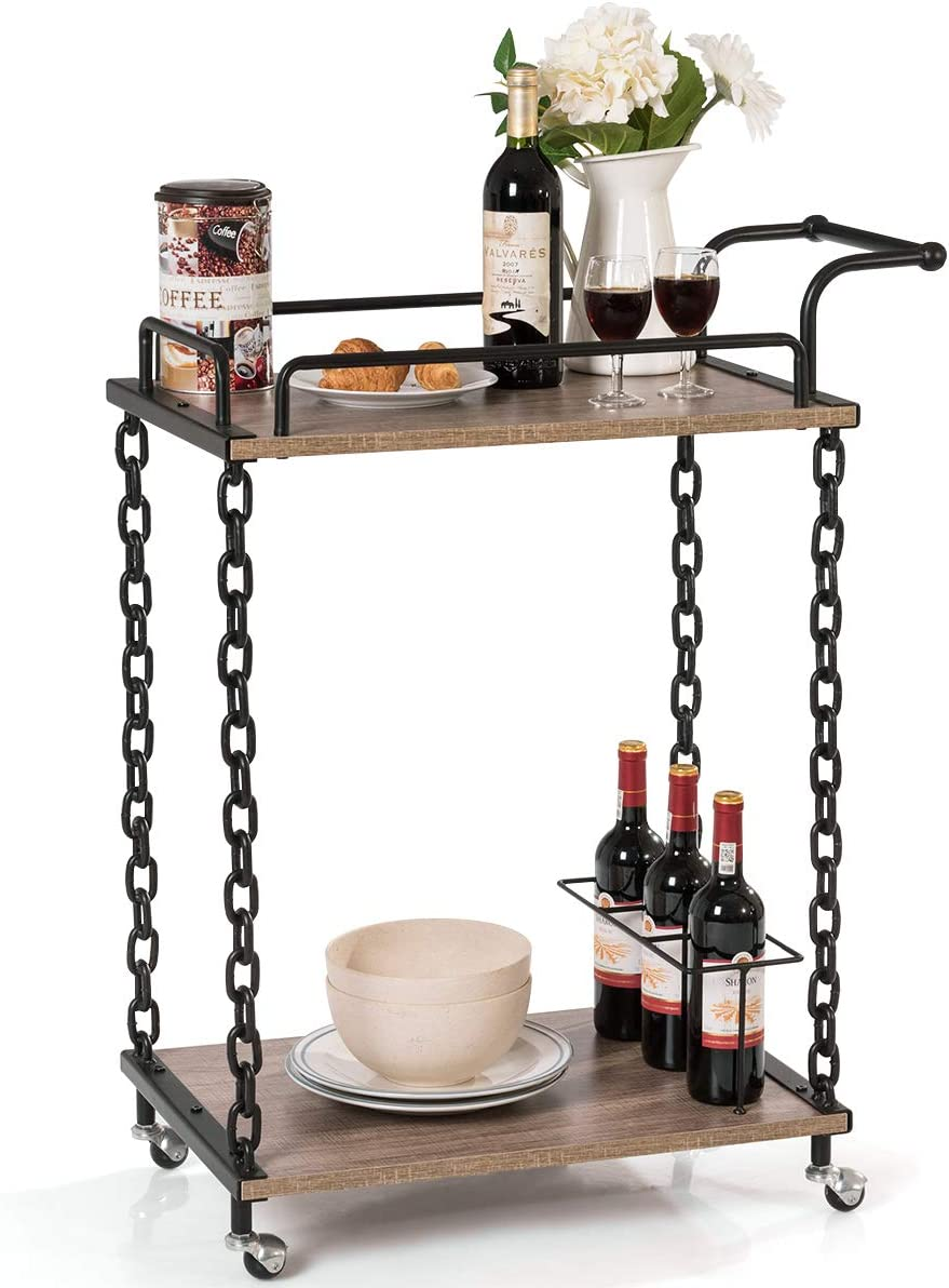 Giantex Bar Cart 2-Tier Chain Style Serving W Handle and 3 Wine Bottle Racks, Universal Caster Wheels, Stable Metal Frames for Kitchen Dining Room Furniture Commercial or Home Use Wine Cart Brown
