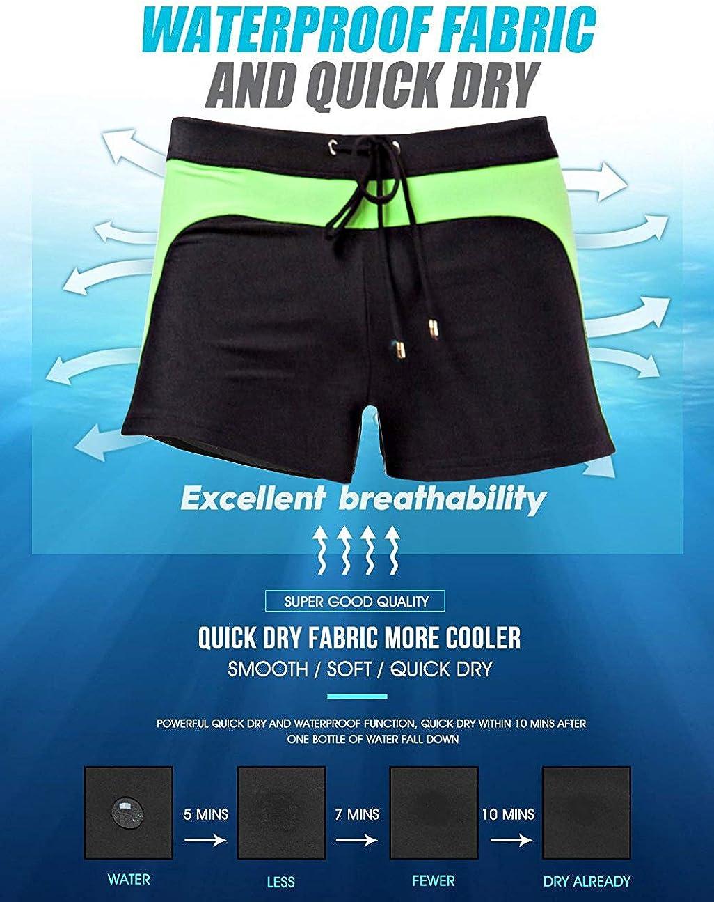 MIZOK Mens Swimwear Swimsuits Swim Trunks Boxer Briefs Board Surfing Shorts