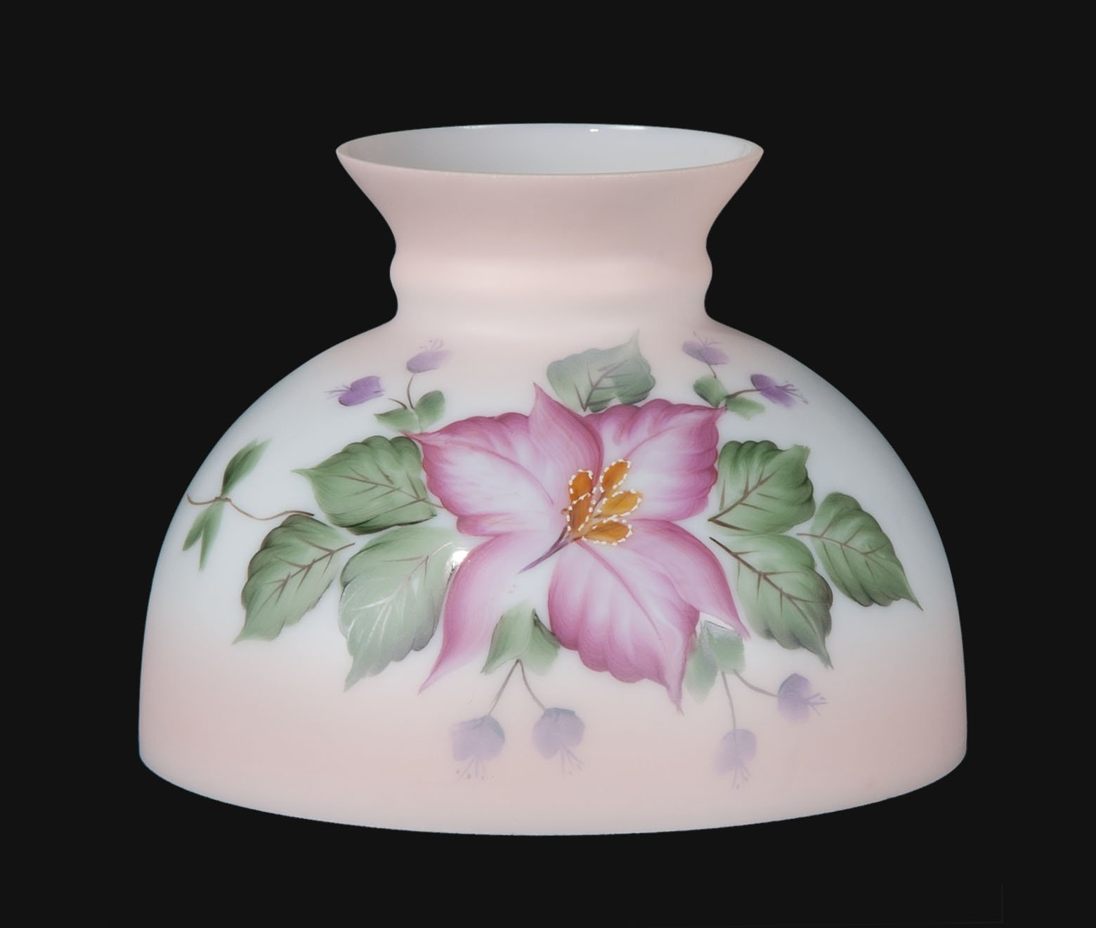 B&P Lamp Opal Glass Student Shade, Wild Orchid Scene